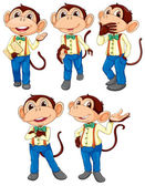 Five monkeys wearing blue jeans — Stock Vector