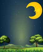 A bright sky with a sleeping moon — Stock Vector