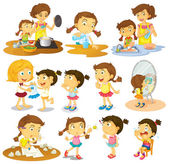 Different actions of a young girl — Stock Vector