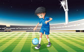 A boy at the field using the ball from Greece — Stock Vector