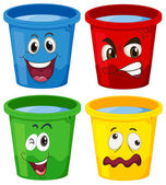 Buckets with faces — Stock Vector