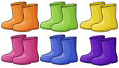 A group of colorful boots — Stock Vector