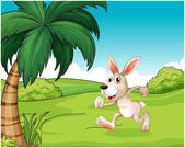 A bunny running at the hilltop — Stock Vector