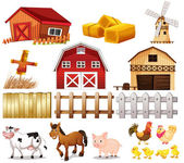 Things and animals found at the farm — Stock Vector