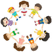 Kids forming a circle — Stock Vector