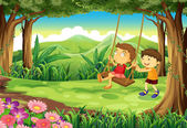 A girl and a boy playing at the jungle — Stock Vector