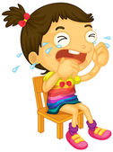 A young girl crying — Stock Vector