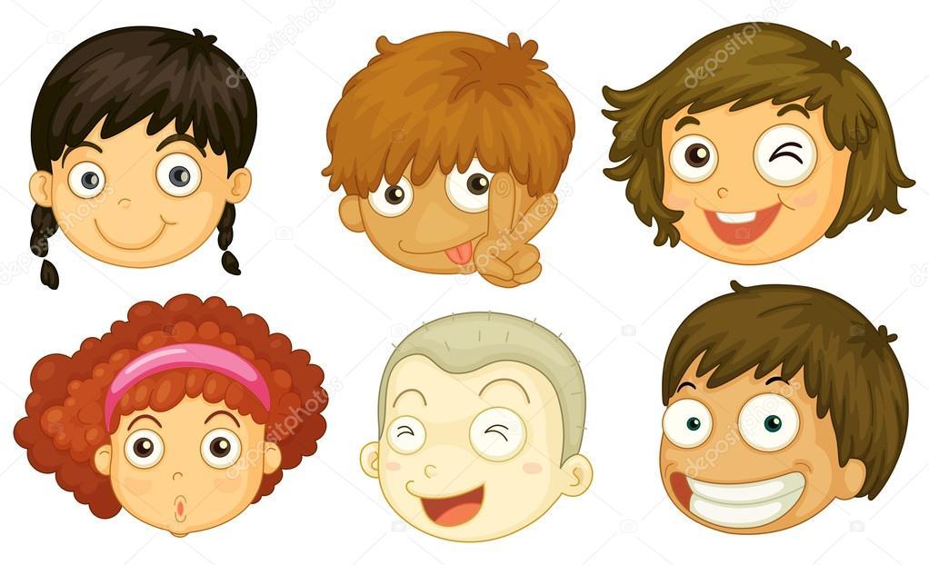 Meninos E Meninas De Nacionalidades Diferentes Childre: Seis Cabeças De Crianças De Diferentes