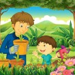 A father and a son at the forest watering the plants — Stock Vector #43064317