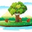 An island with three playful beavers — Stock Vector