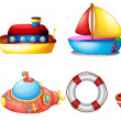 Collection of toy boats — Stock Vector