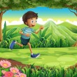 A boy running at the jungle — Stock Vector