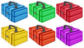 Six colorful boxes — Stock Vector