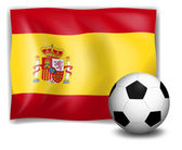 The flag of Spain and the soccer ball — Stock Vector