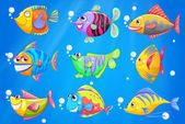 An ocean with nine colorful fishes — Stock Vector