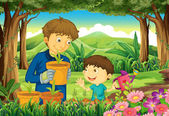 A father and a son at the forest watering the plants — Stock Vector