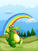 A crocodile walking and a rainbow in the sky — Stock Vector
