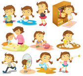Different activities of a young girl — Stock Vector