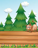 A cat above the empty wooden boards near the pine trees — Stock Vector