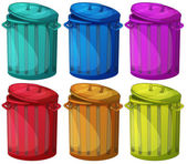 Six colorful bins — Stock Vector