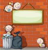A hanging empty signboard with infants — Stock Vector