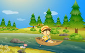 A boy riding a boat — Vector de stock