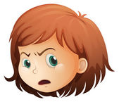 A head of an angry child — Stock Vector