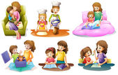 Different activities of a mother and a child — Stock Vector