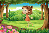 A playful young girl at the woods — Stock Vector