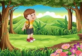 A boy at the forest with a rope at his arm — Vector de stock