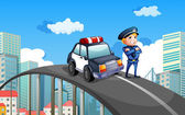 A patrol car and a policeman in the middle of the highway — Stock Vector