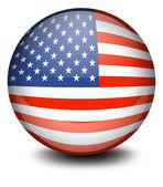 一个足球球与美国的旗子 — 图库矢量图片