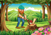 A hardworking lumberjack chopping woods at the forest — Stock Vector