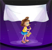 A young girl performing at the stage with an empty banner — Stock Vector