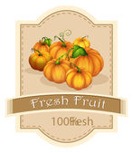 A fresh fruit label with pumpkins — Stock Vector