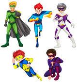 Five superheroes — 图库矢量图片