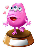A pink beanie monster standing above the trophy stand — Stockvector