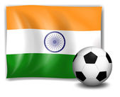 The flag of India at the back of the soccer ball — Stock Vector