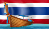 A boat in front of the Thai flag — Cтоковый вектор