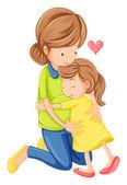 一位母亲和女儿的爱 — 图库矢量图片
