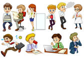 Business minded people engaging in different activities — Stock Vector