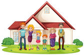 A family in front of their big house — Stock Vector
