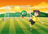 Dáma s použitím míč z brazílie — Stock vektor