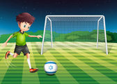 A boy at the court using the ball from Israel — Stock Vector