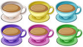 Coffee in colorful cups — Stock Vector