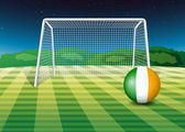 A ball at the field with the flag of Ireland — Stockvektor
