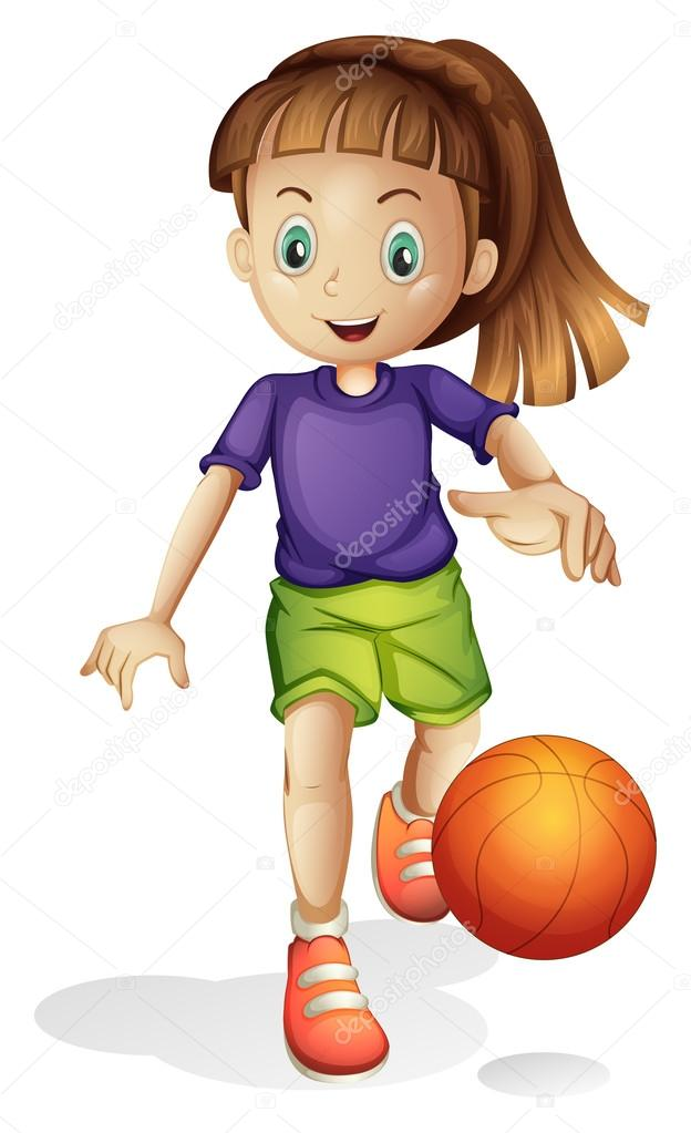 una ni u00f1a jugando al baloncesto archivo im u00e1genes Funny Basketball Cartoons Cartoon Basketball Players