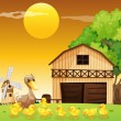 A duck and her ducklings outside the farmhouse — Stock Vector