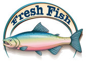 A fish with a fresh fish label — Vector de stock