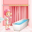 A young lady taking a bath in the bathroom — Stock Vector #43274241